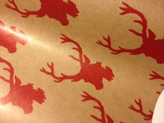 Red Antler Christmas Wrapping Paper 30 inches x  10 feet