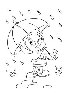 Umbrella with Raindrops Spring Coloring Page Spring Hand