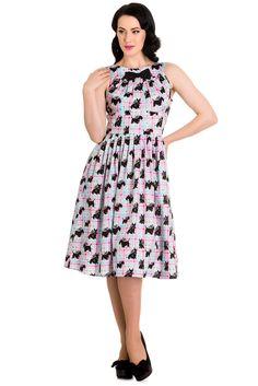 pastel plaid   ... Bunny 60's Mod Scottie Scottish Terrier Pastel Plaid Check Flare Dress