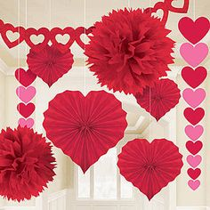 Our Valentine's Day Paper Decorating Kit features an assortment of hanging decorations to fill your room with love. Transform your room in a heartbeat!