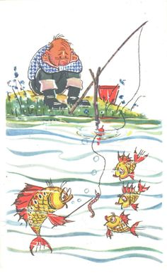 Vintage postcard Vintage soviet postcard Postcard about fishing and fish