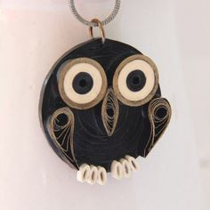 Black and gold paper quilled owl pendant by Honey's Quilling