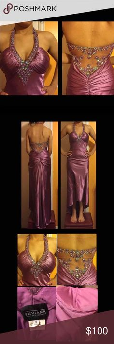 Faviana Prom Dress Size 0 Beautiful prom dress, worn once. Faviana Prom Dress Size 0. Has been altered to have some padding in the chest area, so can be worn without a bra. Padding was stitched in so can easily be removed if preferred. Has a few threads pulling but not very noticeable and can definitely still be worn for prom. Originally retails over $500. Faviana Dresses Prom