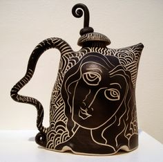 Whimsical black and white teapot ~ Fuller Craft Museum | Image by Mryipyop, via flickr