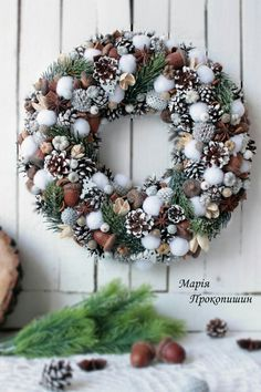 One of the most wonderful I have ever seen. So natural. Christmas Advent Wreath, Christmas Wreaths For Front Door, Handmade Christmas Decorations, Noel Christmas, Holiday Wreaths, Xmas Decorations, Christmas Crafts, Winter Christmas, Christmas Flower Arrangements