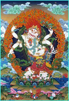 Tibetan Buddhist Thangka of White Mahakala (wealth deity) Tibetan Art, Tibetan Buddhism, Vajrayana Buddhism, Thangka Painting, Buddha Art, Fabric Art, Silk Fabric, Embroidery Art, Art Pictures