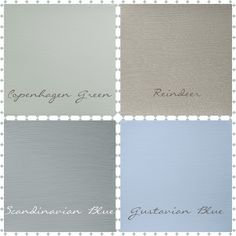 Lovely soft palette of Chalk Paint Scandinavian colours ... This is Gustavian Blue,Copenhagen Green, Reindeer and Scandinavian Blue fro Autentico