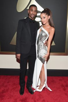 Rapper Big Sean and singer Ariana Grande attend The Annual GRAMMY Awards at the STAPLES Center on February 2015 in Los Angeles, California. Get premium, high resolution news photos at Getty Images Ariana Grande Fotos, Ariana Grande Big Sean, Rapper Big, Saint Laurent, Celebrity Red Carpet, Poses, Bright Stars, Red Carpet Looks, Agra
