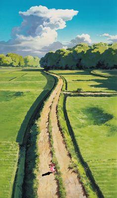 Studio ghibli art - My Neighbor Totoro Miyazaki Studio Ghibli Art Studio Ghibli, Studio Ghibli Movies, Studio Art, Studio Ghibli Background, Animation Background, Scenery Wallpaper, Landscape Wallpaper, Landscape Background, Fantasy Landscape