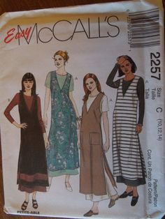 McCalls 2257, size varies, UNCUT sewing pattern, craft supplies, misses, womens, teens, dress and jumper