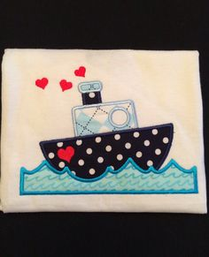 Monogrammed and Appliqued Valentine Boat Onesie for Baby Boy 0-18 months or a T-shhirt 18 months - 3T. Personalized by PurttyStitches on Etsy https://www.etsy.com/listing/218387843/monogrammed-and-appliqued-valentine-boat