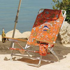 Tommy Bahama Big Kahuna Chair:  The aptly named Tommy Bahama Big Kahuna Chair is wide and tall for a sturdy, comfortable fit. Made for relaxing days at the beach, the five-position seat back adjusts from sitting up to fully reclined and includes a padded headrest.