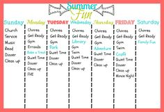1st week of summer and I'm realizing I need a schedule. Not as specific as this, but just pinning for some guidance.