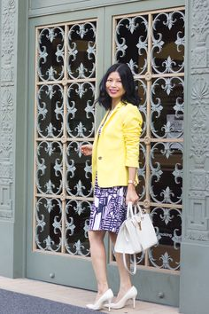 yellow blazer, navy white dress, white leather pumps