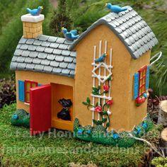 Mary Engelbreit Fairy Gardens Yellow Solar Fairy House Dollhouse Miniature
