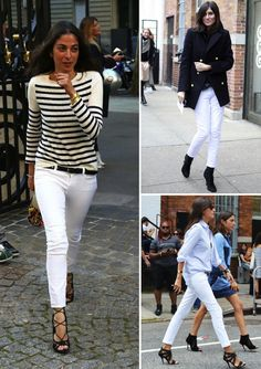 Geraldine Saglio, Emmanuelle Alt, French Vogue, French street style, white jeans, what to wear with white jeans, Capucine Safyurtluhow french girls wear white jeans1