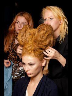 Avant garde hairdresser of the year , Indira schauwecker working on her avant garde showcase backstage