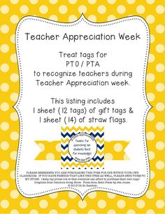 "Treat tags for PTO / PTA to recognize teachers during Teacher Appreciation week. This listing includes 1 sheet (12 tags) of gift tags & 1 sheet (14 flags) of straw flags.  Tag saying: ""Thanks for quenching our students thirst for knowledge"" Flag: blank for your own message or teacher's name"