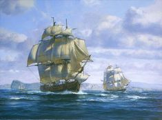 Lord Cochrane's Brig Speedy by Roy Cross. This was Cochrane's first command, a brig which had several highly successful cruises in capturing over 50 prizes, including the 32 gun Spanish Zebec Gamo off Barcelona in 1801 Majesty Of The Sea, Master And Commander, Royal Caribbean Ships, Old Sailing Ships, Man Of War, Vintage Boats, Nautical Art, Historical Art, Armada