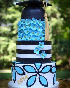 Blue Patterned Graduation Cake