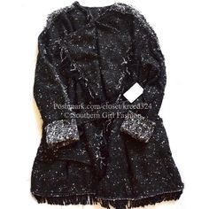 """FREE PEOPLE Jacket Tweed Cardigan Fringe Wrap Coat Size Small.  New with tags.  $268 Retail + Tax.  Oversized lined tweed blazer-style slouchy wrap coat with fringe.  Front slip pockets & contrast trim. Adjustable belted waist tie.   Measurements for Small: Bust: 44"""" Length: 34.5"""" Sleeve: 29""""  ❗️ No trades, holds, or Modeling.    Bundle 2+ items for a 20% discount!    Stop by my closet for even more items from this brand!  ✔️ Items are priced to sell, however reasonable offers will be…"""