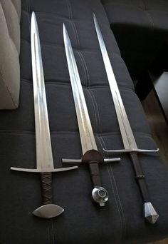 L-R: Warsword, arming sword, longsword.