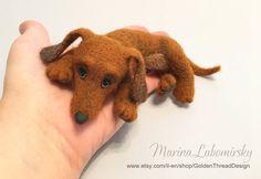 Dachshund Puppy Needle Felted Dachshund by GoldenThreadDesign