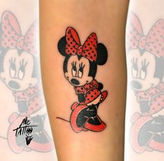 minnie tattoo done by alletattoo in his tattoo shop in limidi di Soliera (modena) Italy, cartoon disney