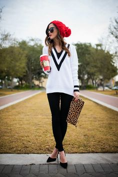 Black & white with a pop of red | Sequins and Things