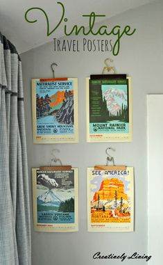 Vintage Travel Posters hung on vintage hangers for the Boy's Room