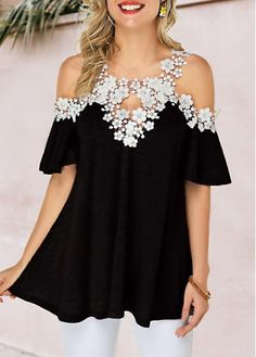 Tops For Women Lace Panel Strappy Cold Shoulder Purple Blouse Stylish Tops For Girls, Trendy Tops For Women, Blouses For Women, Women's Blouses, Formal Blouses, Purple Blouse, Purple Lace, Black Blouse, Diy Schmuck
