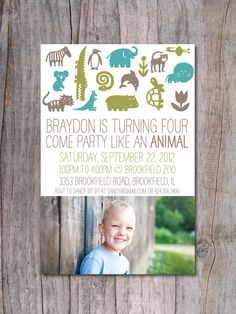 Modern Zoo Birthday Party Invitation Photo by PinchOfSpice on Etsy, $15.00