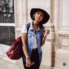 "5,960 Likes, 27 Comments - LIKEtoKNOW.it (@liketoknow.it) on Instagram: ""Keep your mid-week style relaxed with an oversized denim waistcoat and fedora a la @safiavendome 