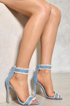 Nasty Gal nastygal A Fray to Remember Denim Heel Stilettos, High Heels, Wedge Heels, Flip Flop Boots, Denim Pumps, Funky Shoes, Cute Heels, Stiletto Shoes, Sexy Feet