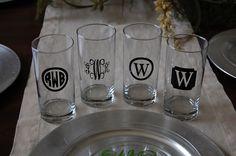 Vinyl Monogram Personalized set of tea glasses cups by brandiwalk