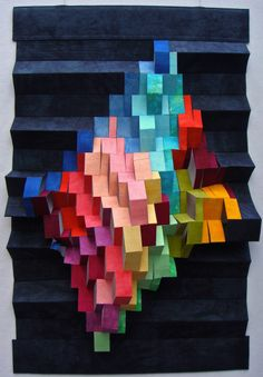 """""""Spaces"""". 3D quilt. Hand dyed fabrics. would be neat to recreate in 2D by matching all the values here"""