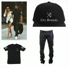 Get this look shop the #Des Rosiers MON AMOUR III tee & Snapback #LastKings Wax denim jeans www.houseoftreli.com