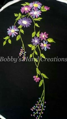 French Knot Embroidery, Ribbon Embroidery Tutorial, Border Embroidery Designs, Kurti Embroidery Design, Floral Embroidery Patterns, Embroidery On Kurtis, Hand Embroidery Dress, Embroidery Bags, Hand Embroidery Stitches