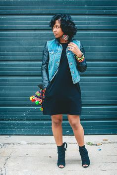 Fall Outfit Idea, Denim Jacket, Black Dress, Sweenee Style, Indianapolis style blog,
