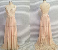 Champagne Handmade floor length Evening Dress Bridesmaid Dress, Custom Made Bridesmaid Dress 2015 New Arrive