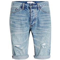 Topman Ripped Skinny Fit Denim Shorts (240 AED) ❤ liked on Polyvore featuring men's fashion, men's clothing, men's shorts, mens distressed denim shorts, mens vintage shorts, mens cotton shorts and vintage mens clothing