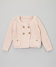 Pink Four-Button Sweater - Toddler & Girls by Sweet Charlotte #zulily #zulilyfinds