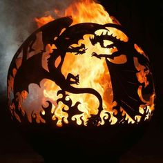 Steel Fire Pit Designs: Fire Balls are Custom Made - Hearth pit . Love this and dragons too! >>> Have a look at more at the photo The Effective Pict - Fire Pit Landscaping, Fire Pit Backyard, Backyard Seating, Dragon Fire Pit, Fire Pit Gallery, Metal Fire Pit, Fire Pits, Fire Pit Party, Fire Pit Materials