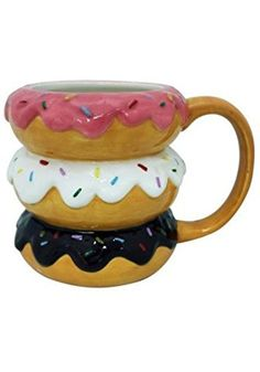 Donuts Mug: Coffee Cups & Mugs Cool Mugs, Unique Coffee Mugs, Funny Coffee Mugs, Funny Mugs, Chocolate Mugs, Cute Cups, Ceramic Mugs, Tea Mugs, Mug Cup