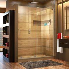 Frameless Sliding Shower Doors, Sliding Doors, Bathroom Partitions, Dreamline Shower, Wall Installation, Shower Remodel, Remodel Bathroom, Shower Enclosure, Shower Stalls