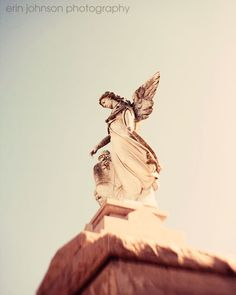New Orleans Louisiana  Art - Angel no. 4 8x10 Fine Art Photography - St. Louis Cemetery - Statue. $25.00, via Etsy.
