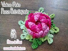 Artes da Desi: Vídeo aula - Flor Rosa Entrelaçada de crochê