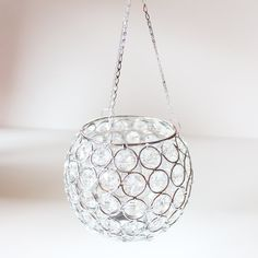 "Crystal Ball Hanging Votive Candle Holder 5"" Diameter"