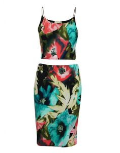 Strappy Sleeve Bright Floral Print Two Piece Outfit Crop Top And Midi Skirt  £ 11.95