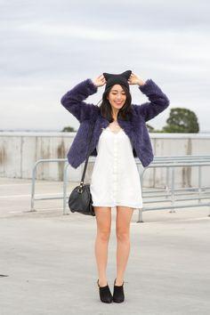 k is for kani lilya fur coat navy rmk shoes mimco barrel bag-2
